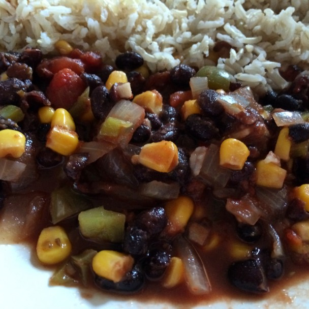 Plant based vegan black bean chilli