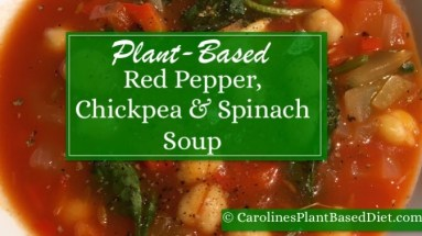 Plant-Based Red Pepper Chickpea and Spinach Soup