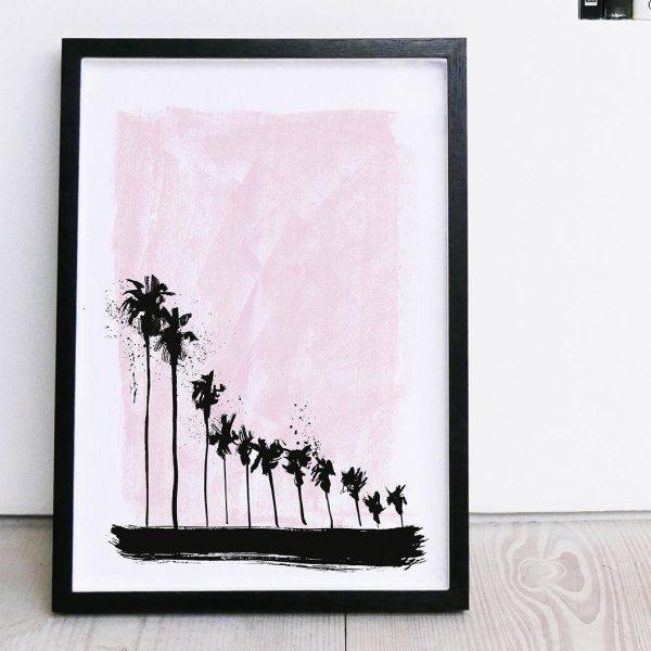 Pink Palm Trees Silkscreen Print