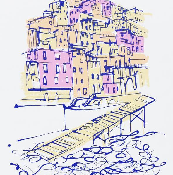Endless Summer - Cinque Terre Italy Silkscreen Print