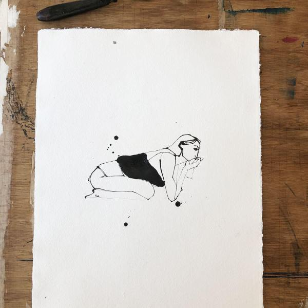 Undress - Girl - Leaning Original Drawing