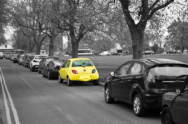 yellow car on the side