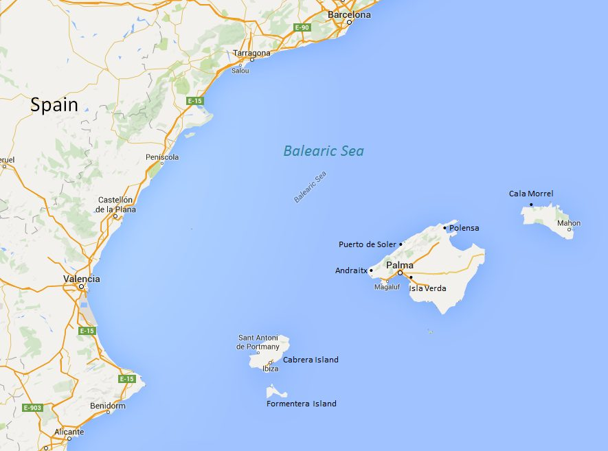 The Balearic Islands Spain Itinerary Map