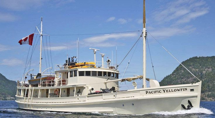 114ft Billings Shipyard of Maine motor yacht PACIFIC YELLOWFIN Operates in out of Pacific NW, BC Canada Desolation Sound, Vancouver, Gulf Islands, Great Bear Rainforest