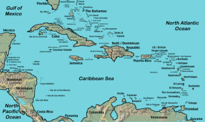 Caribbean Map for Yacht Charters