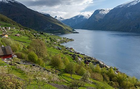 Hillside with red barn along a Norwegian fjord with snow-capped mountains in the distance Norway