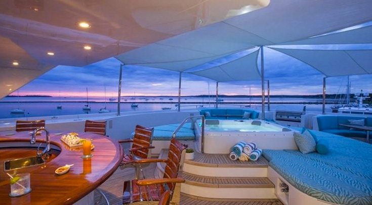Deck lounge at sunset on Florida yacht