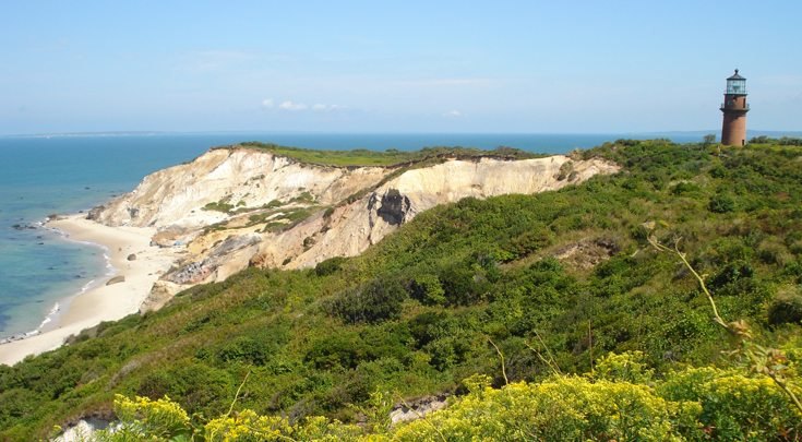 Lighthouse at Aquinnah (formerly Gay Head) on Martha's Vineyard of Cape Cod, Massachusetts