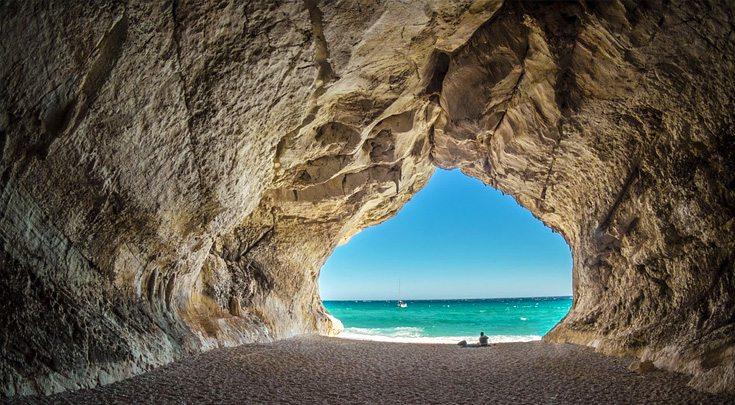Archway to a Sardinia beach, off the Amalfi Coast, Italy