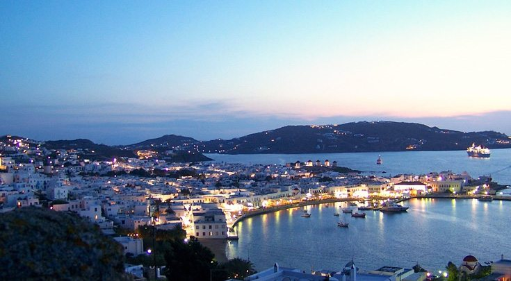 Greece Dodecanese harbor in Greek Islands at twilight