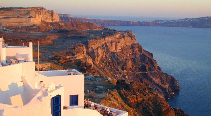 traditional Greek architecture in cliff in Santorini, Greece