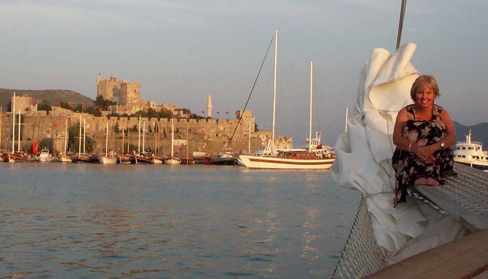 Carol on boat in Bodrum, Turikey