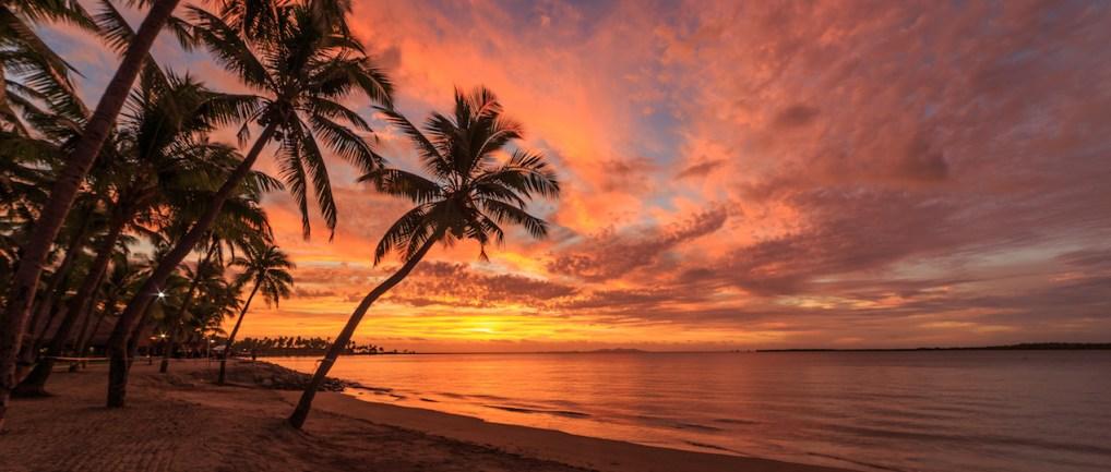 Sunset on Fiji beach