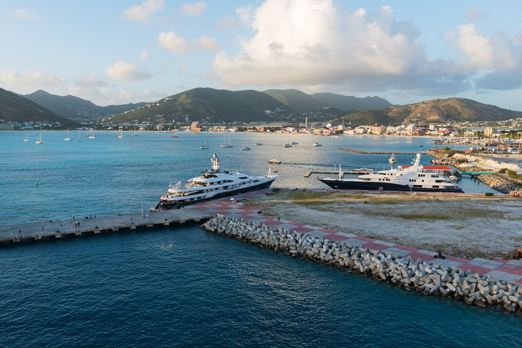 Luxury yachts in the harbor, Great Bay, Philipsburg, St. Martin