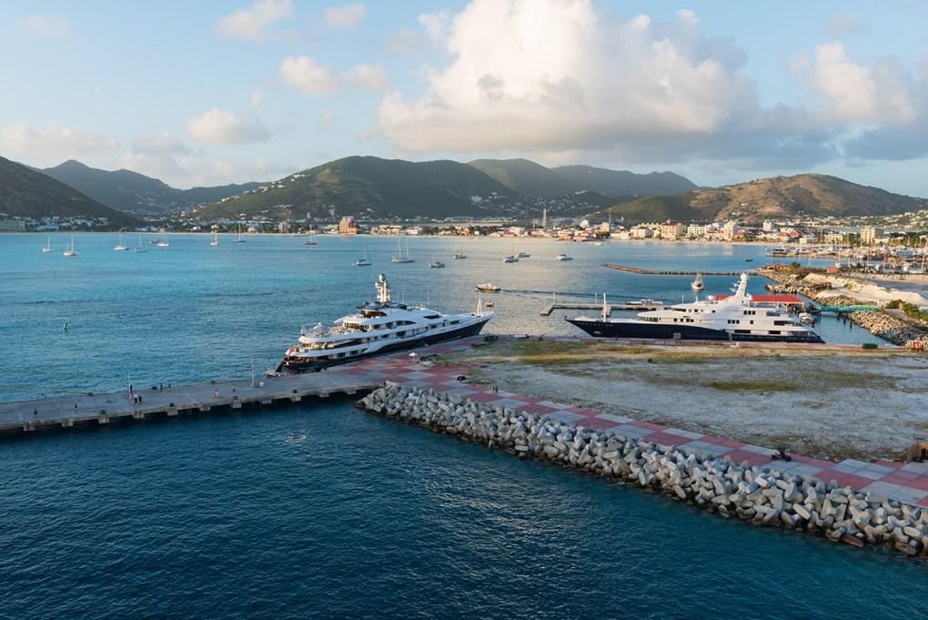 Luxury yachts in the harbor, Great Bay, Philipsburg, St. Martin
