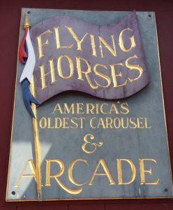 Carousel and Arcade sign for the Flying Horses Oak Bluffs Martha's Vineyard Massachusetts New England Nantucket getaways by land and sea