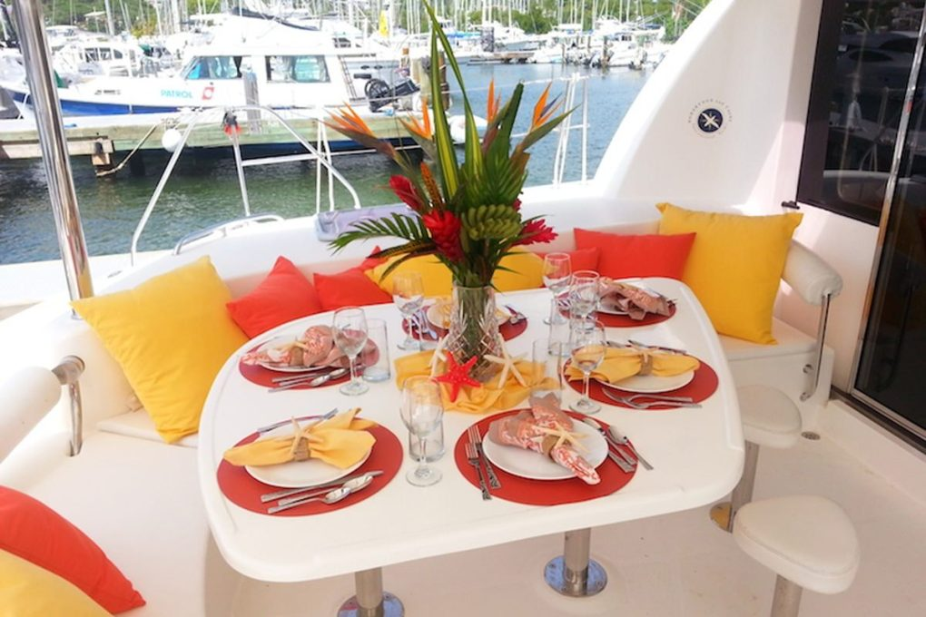 Cockpit dining on the S/Y STARFISH