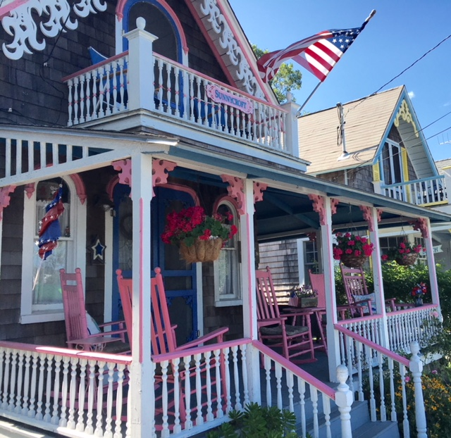 GingerbreadCottage_wPinkWhiteRailings__OakBluffs_MarthasVineyard Nantucket getaways by land and sea
