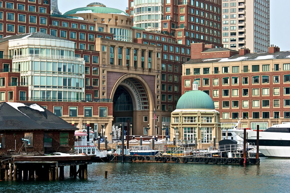 Rowes Wharf in Boston, Massachusetts at the harbor
