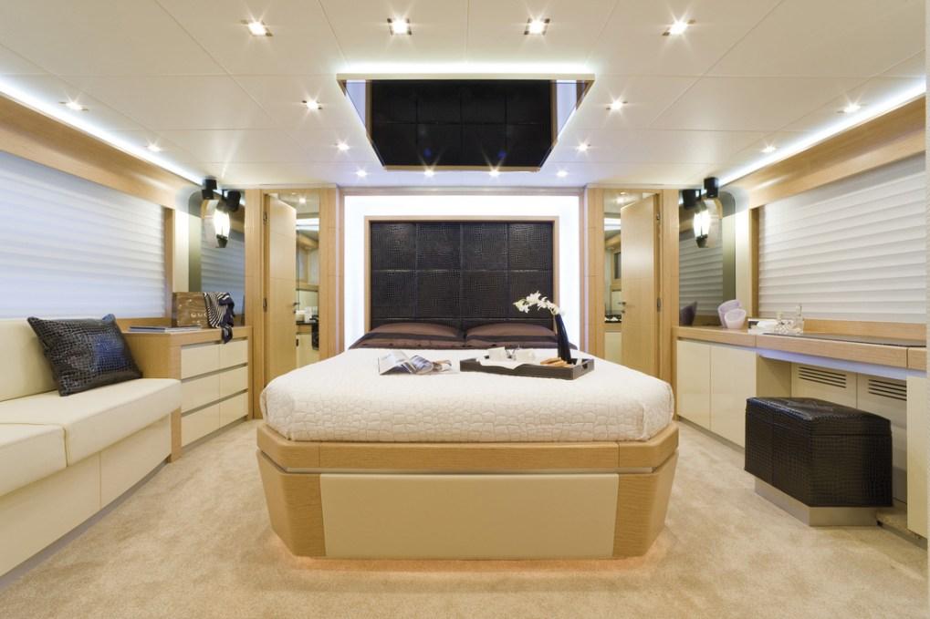 Stylish master cabin on the 78ft Dominator motor yacht SASCHA