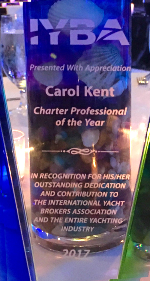 Carol Kent's International Yacht Brokers Association 2017 Charter Professional of the Year Award