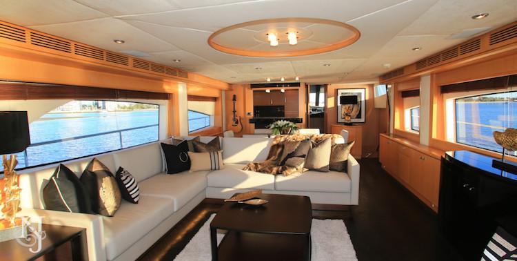 Salon on the 85foot motor yacht SOPHIA new to Australian waters