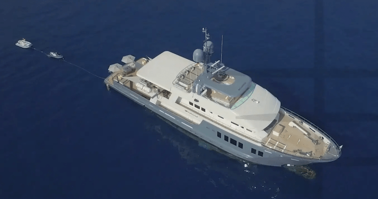 118ft Inace motor yacht ZULU on the water aerial photo