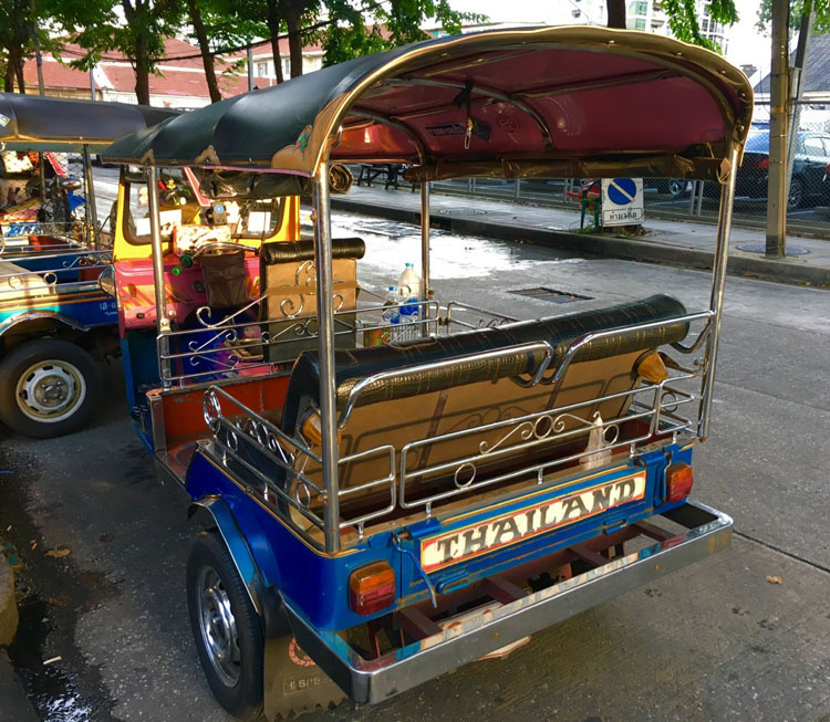 Traveling by tuk tuk is the most popular form of transportation in Thailand
