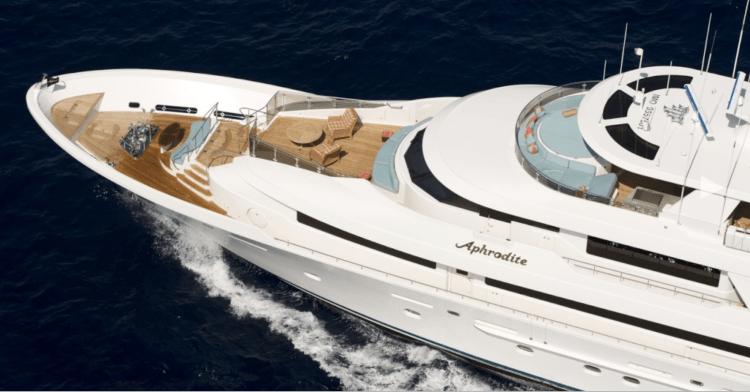 130ft Westport Motor yacht Aphrodite cruises in the Bahamas Caribbean