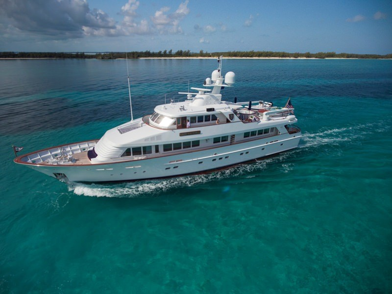 Main shot of Lady Victoria 120ft Classic Feadship motor yacht at sea Operating in the Bahamas, Caribbean and the North America operating in the Bahamas, Caribbean and North America