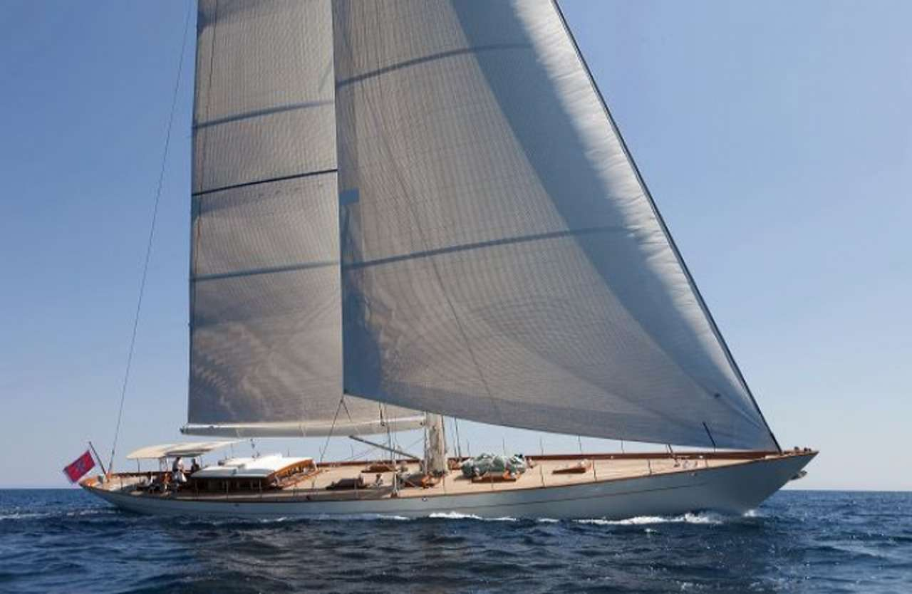 Main shot of 111ft sailing yacht AURELIUS III at sea