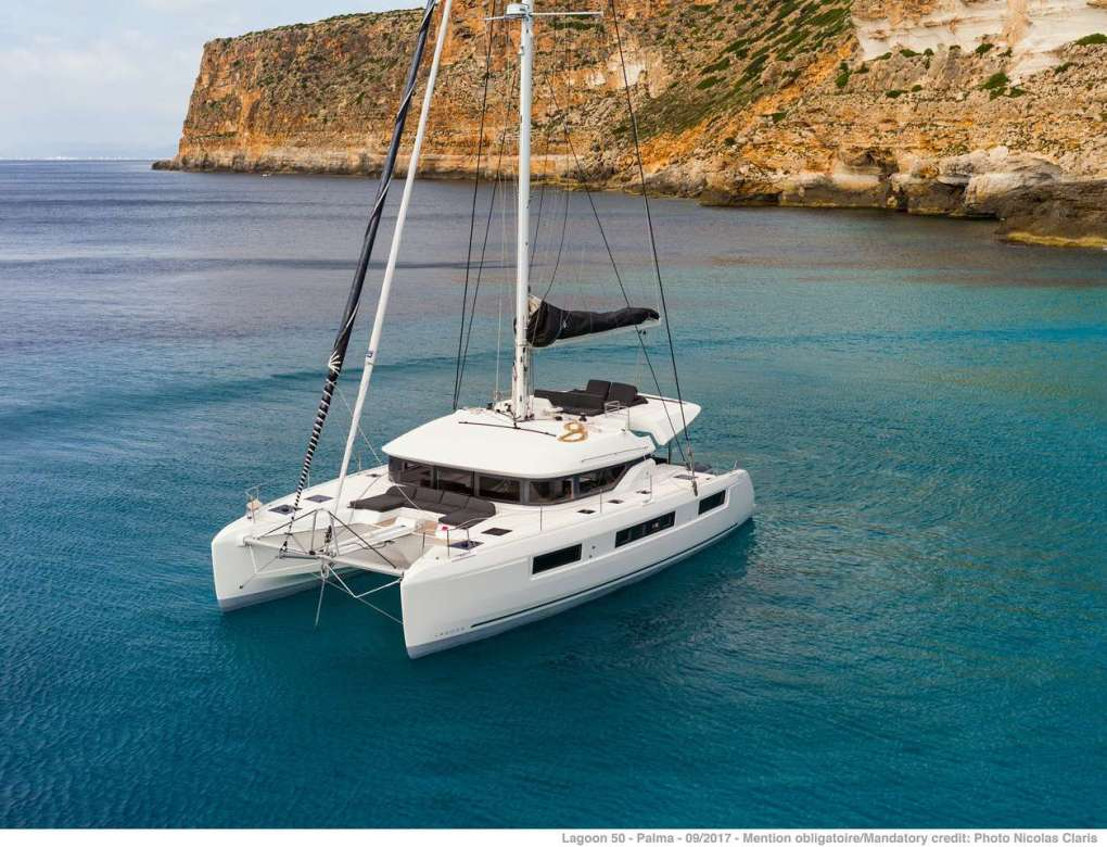 Karma 50ft Lagoon S-Y catamaran at anchor