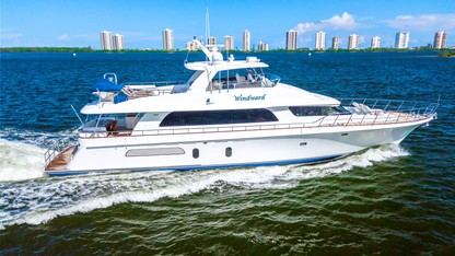 90ft Cheoy Lee motor yacht WINDWARD at sea in the Bahamas. She operates in the Caribbean and East Coast United States.