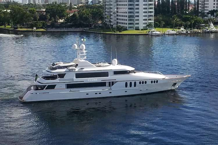 150ft Trinity motor yacht CLAIRE cruising along the coastline is available in Florida and The Bahamas