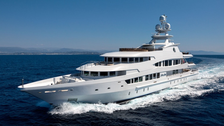 205ft Oceanco superyacht LUCKY LADY at sea