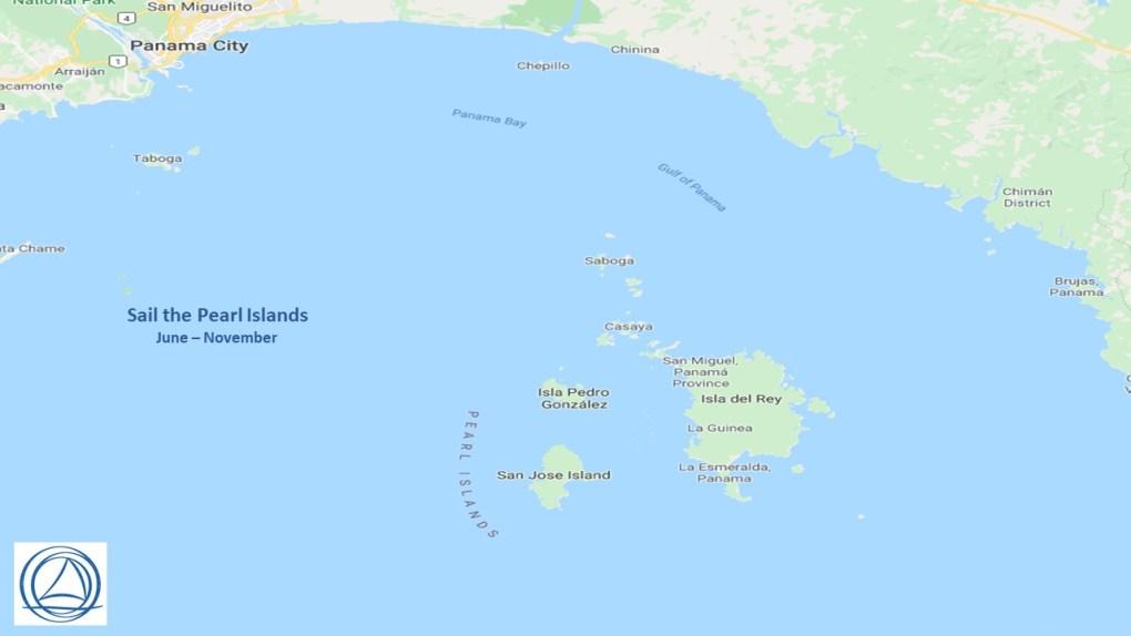 Map of the Pearl Islands off the Panama Coast