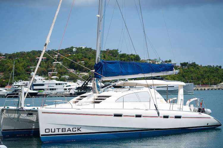 43ft sailing catamaran OUTBACK accommodates up to 8 passengers and operates in the Caribbean