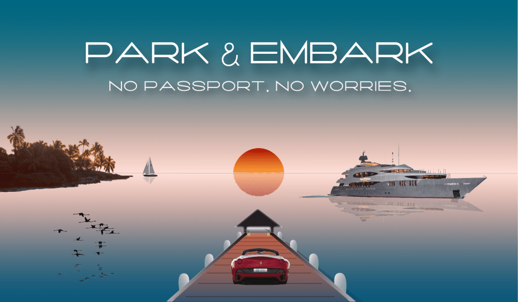 Park & Embark graphic with motor yacht, palm trees, sunset and flamingos