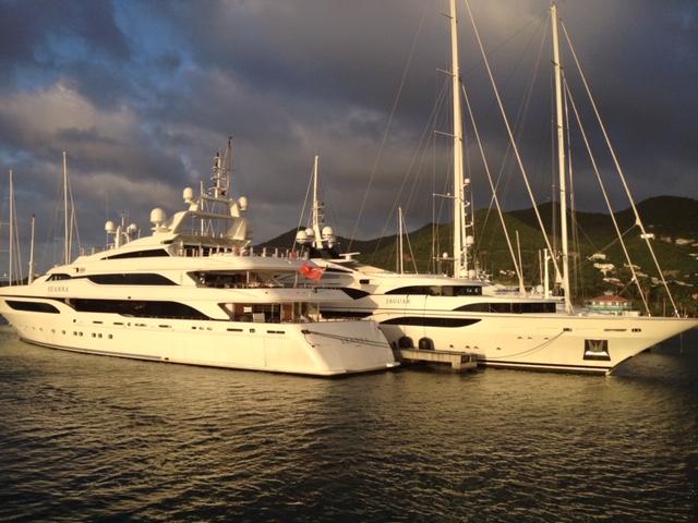 Chart yachts Seanna and Jaguar in St. Barth's harbor