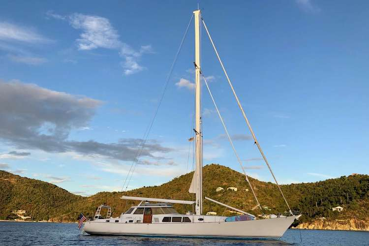 92ft Stephens sailing yacht AUGUST MAVERICK operates in the East Coast United States and the Caribbean