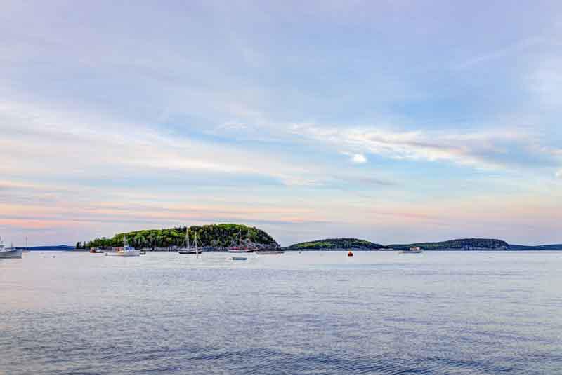 Boats at island off Bar Harbor, Maine