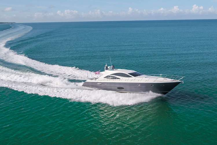 70ft Uniesse motor yacht SHOWBOAT on the water. She operates in New England.