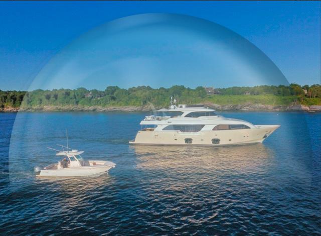 86ft custom-built motor yacht SLAINTE III and tender in a bubble for safe travel