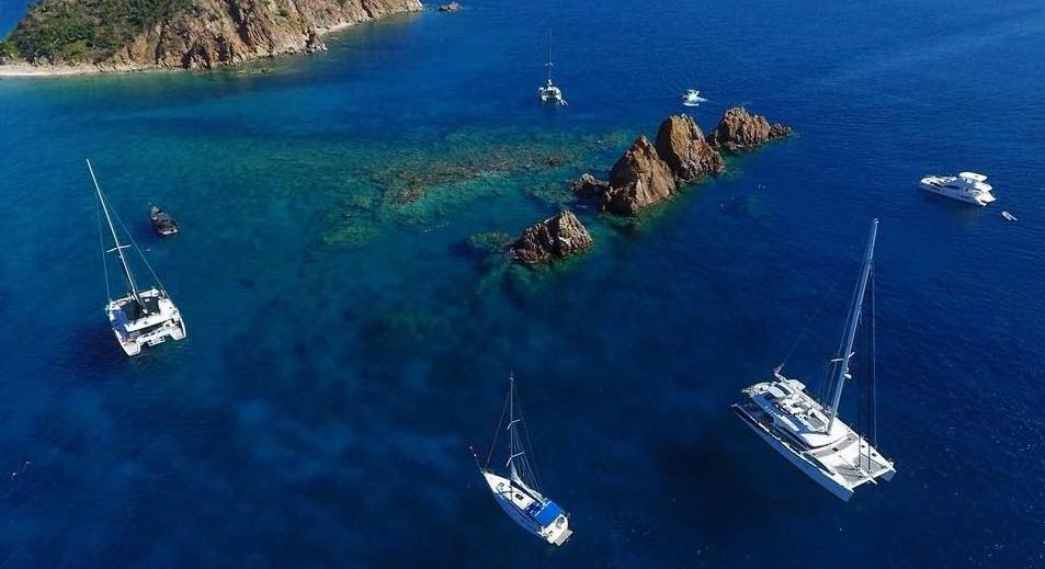 Aerial view of the The Indians in the BVI by expert drone photographer Captain Matt Wilson of iLADY KATLO sail catamaran