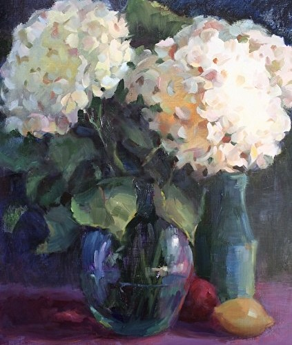 hydrangeas-and-blue-bottle