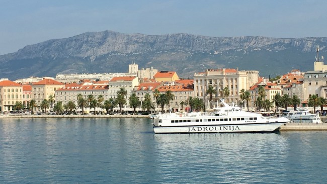 View of the Split promenade from the sea.