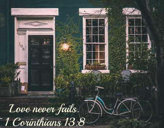 house ivy with bicycle and scripture