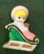 Wee Ones Girl in sleigh orn