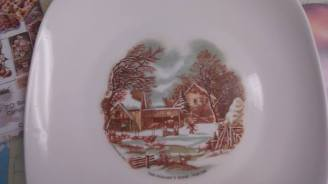 Reines Currier & Ives plate decal