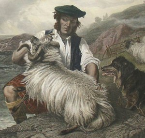 Detail from Sheep Washing, 1864, by Richard Ansdell (artist) and Charles George Lewis (engraver)